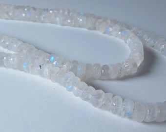 White Moonstone Hand Faceted Rondelle Beads 3mm