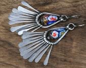 Rustic Sterling Silver Vintage Floral Millefiori II earrings n232- Festive Vintage . Garden . Bohemian Boho . Tribalis Earthy Colorful Beach