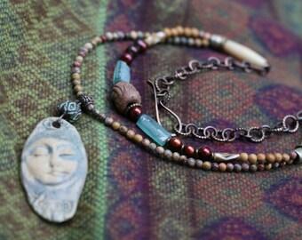 Rustic Bohemian *I am a Hill* Necklace-Beaded,Goddess Face Artisan Ceramic,Earth,Organic,Handmade Feminien Face Ceramic,Natural Colors,Earth