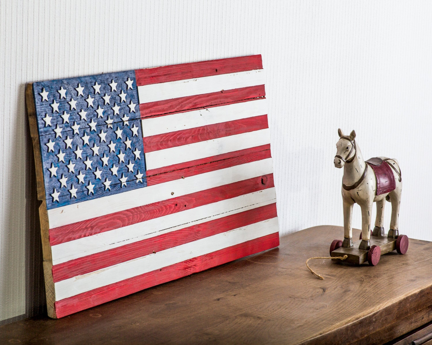 Wall art usa flag wooden carved edition free shipping retro American flag wood wall art