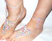 Barefoot sandals, Crochet, melange Nude Summer Shoes, Beach Foot Jewelry, Hippie Sandals