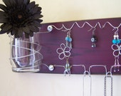 SALE Jewelry Display Organizer Board Necklace and Earring Holder Woman's Wall Storage, Purple - IN STOCK