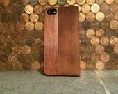 IPHONE 5/5S portfolio case brown herringbone leather and rosewood case