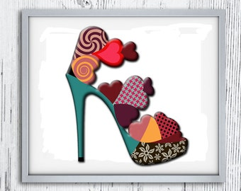 Art for Girls Room, Wall Art For Girls, High Heel Decoration, Shoe Decor, Shoe Art, Valentine Poster, Valentine Day