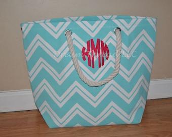 SALE, FINAL INVENTORY, Sorority, Birthday present, Tote, Girly, Preppy, Beach bag, Chevron Monogram Tote (Made to order)