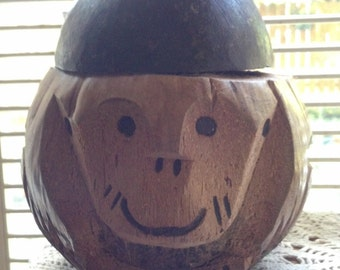Hand Carved Monkey Head made from a Real Coconut Bank