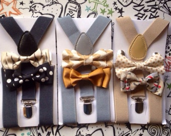 Bowtie & Suspender Set Toddler Bowtie and Suspender Set Boys Bowties Mens Suspenders Bow Light Gray Suspender Summer Wedding