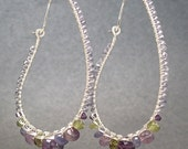 Long hammered hoops with amethyst, tanzanite, vessonite Luxe Bijoux 78