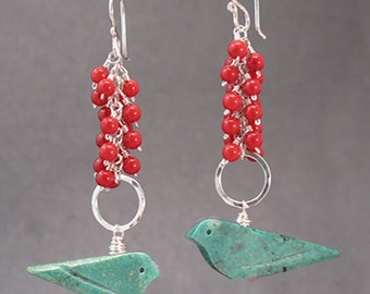 Red coral and turquoise birds on hammered rings Modglam 171