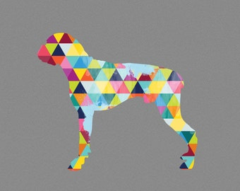 Dog Breed boxer Print Poster Sausage Dog Pet Design Bright Colorful Colourful Geometric