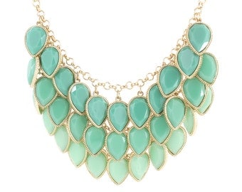 Gorgeous Gold-tone Three Layers Green Tear Drop Faceted Stone Statement Necklace,A13