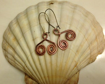 Copper Earrings, Hammered Spirals - Hand Crafted