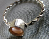 Small Silver Pearl Ring - Natural Pink Pearl ring - size 9 - Made to Order