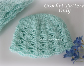 Shells and Chains Baby Hat, Crochet Pattern, Easy to Make, Instant Download