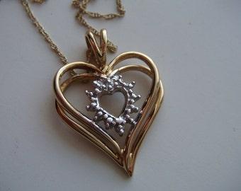 Heart Necklace w Diamonds