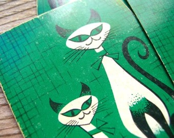 Siamese Cat Playing Cards - Vintage Siamese Cat  - Green Cat Cards