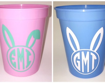 Personalized Easter Bunny Cup, Monogram Easter Cup