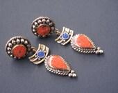 Coral Tibetan earrings, Nepal earrings, ethnic jewelry TS-CCP