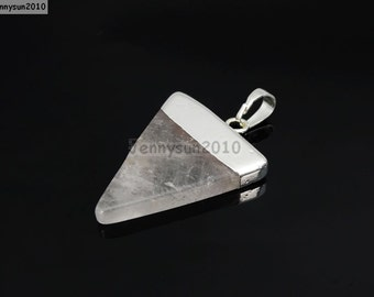 Natural Clear Crystal Quartz Gemstones Triangle Pointed Sliced Reiki Chakra Healing Silver Pendant Charm Beads Jewelry Crafts Making