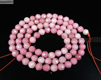 Natural Rhodochrosite Gemstones 4mm Faceted Round Spacer Loose Beads 15'' Strand for Jewelry Making Crafts