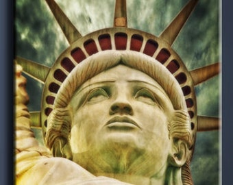 Statue of Liberty Abstract colors Canvas oil print. 32x44 inches