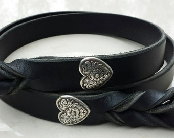 Braided Leather Leash with silver heart conchos