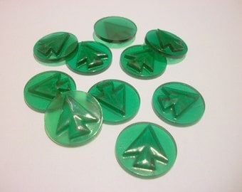 Vintage Green Arrow Glass Cabochon x 2     # X 9