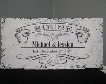 Romantic Last Name French Chic Sign with Personalized Names & Date