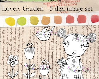 Whimsical girl with florals - 5 image digi stamp set