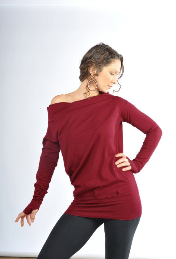 Relaxed Long sleeve -Women's clothing-ladies boho top-christmas top- off the shoulder thumb holes- gypsy pixie-red shirt-festival clothing