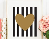 Gold Heart Wall Art, Gold Heart Bedroom Poster, Gold Foil Heart Fashion Print, Wall Decor, Black White Stripes, Heart Poster, Heart Art