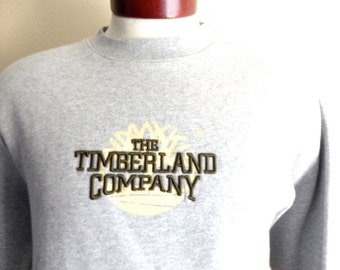vintage 90's Timberland company heather grey fleece olive green embroidered spellout tree logo graphic sweatshirt crewneck