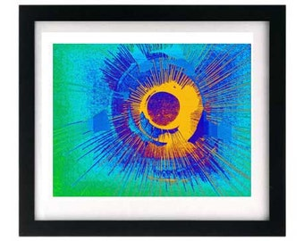 Signed Numbered Abstract Green Blue Teal Textured Giclée