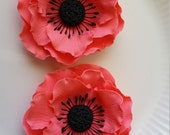 Gum Paste ANEMONES CORAL Flowers / SET of 2 /  Edible  Cake and Cupcake Decorations