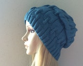 Hand knitted teal lake hat, chain link pattern