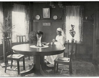 Old Photo Postcard Nurse Sewing Mission Furniture Early 1900s Photograph vintage Cyko Rppc Snapshot