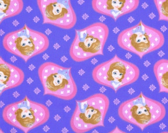 Disney Sofia the First Ogee Polyester Fleece Fabric- Half Metre
