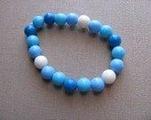 JEWELRY SALE- Girls Bracelet- Beaded Children's Jewelry- Blues, White