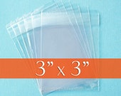 200 3 x 3 Inch Resealable Cello Bags, 1.8 mil Clear Cellophane Plastic Packaging, Acid Free
