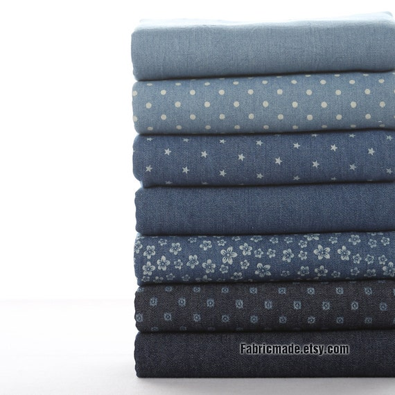 "Heavy Denim Blue Cotton Fabric - White Dot Stars Flower on Cotton Denim Soft  1/2 yard 18""X58"""