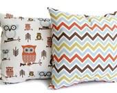 Throw pillows, Fall Pillows, Cushin Covers, Pillow Shams, Rust, Natural, and Smokey Blue - Chevron zoom zoom zig zagand Owls