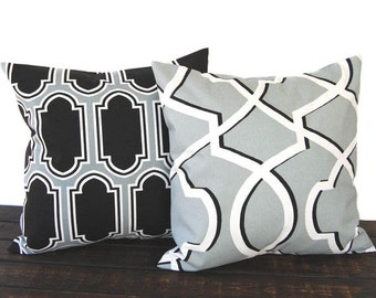 Throw pillow covers Pair of Two gray black white ikat geometric cushion cover pillow shams