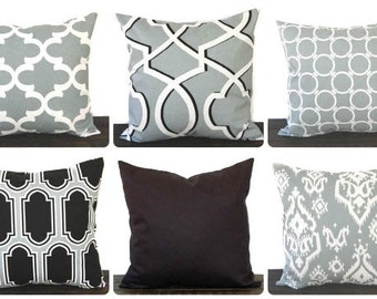 Throw Pillow, Pillow, Pillow Cover, Cushion, Toss Pillow, Decorative Pillow,  cool grey black white throw pillow modern decor