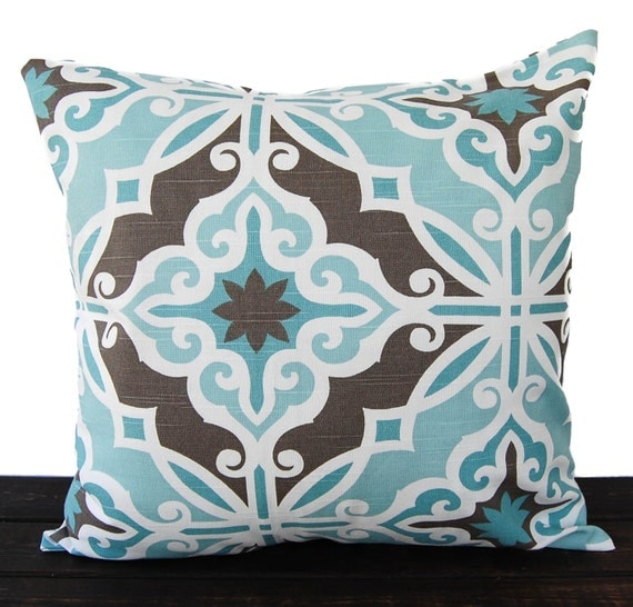 Items similar to Throw pillow cover cushion cover gray brown light blue white pillow case ...