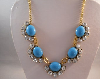 SALE Bib Necklace with Blue Glass and Clear Rhinestone Pendants on a Gold Tone Chain