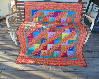 "Contemporary Colorful ""Dragon"" Throw Quilt"
