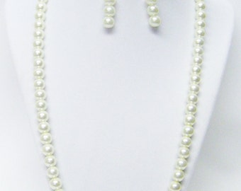 """22"""" Ecru Glass Pearl Necklace and Earrings Set"""