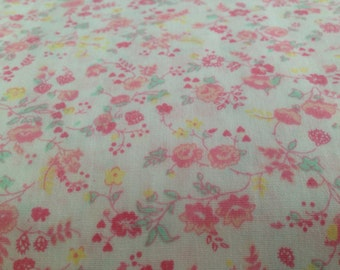 Vintage Cotton calico Fabric floral flowers blue white