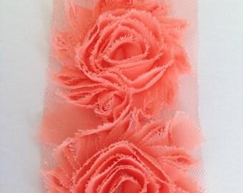 Peach Chiffon flower shabby frayed rosette