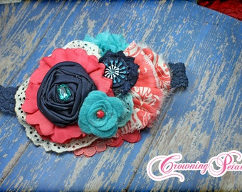 Turquoise, Navy, Coral Headband, Baby Girl Hair Accessories, Aqua Fabric Flower Brooch, Hair Bow, Hair Clip, Fabric Flowers